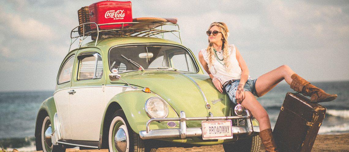 Woman car beach